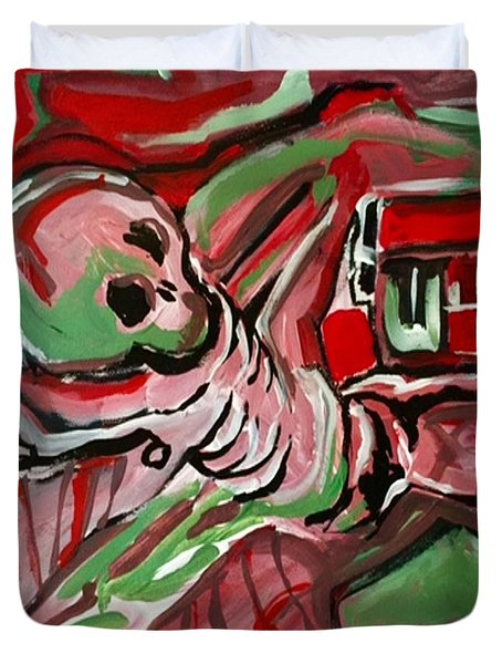 Duvet Cover featuring the painting Skeleton by Helen Syron
