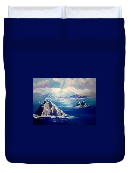 Duvet Cover featuring the painting Skelligs Ireland by Paul Weerasekera