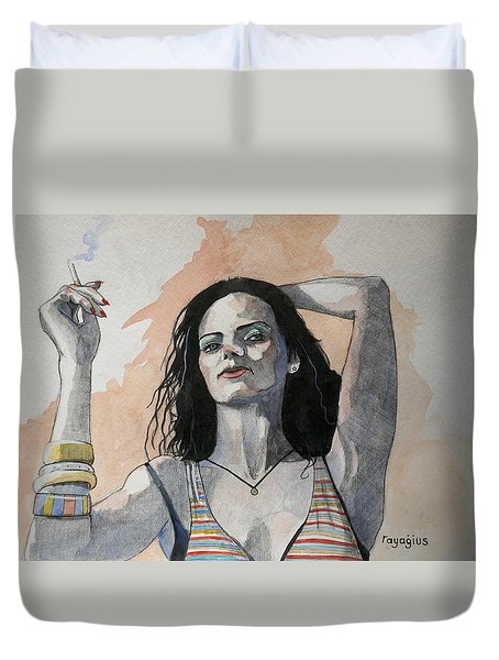 Sketch For Lucy Duvet Cover by Ray Agius