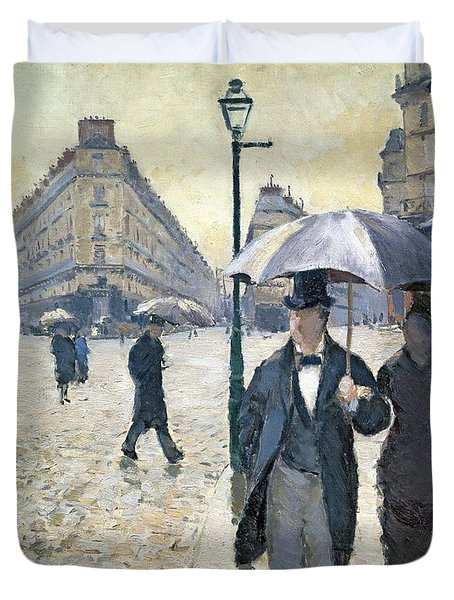 Sketch For Paris A Rainy Day Duvet Cover by Gustave Caillebotte