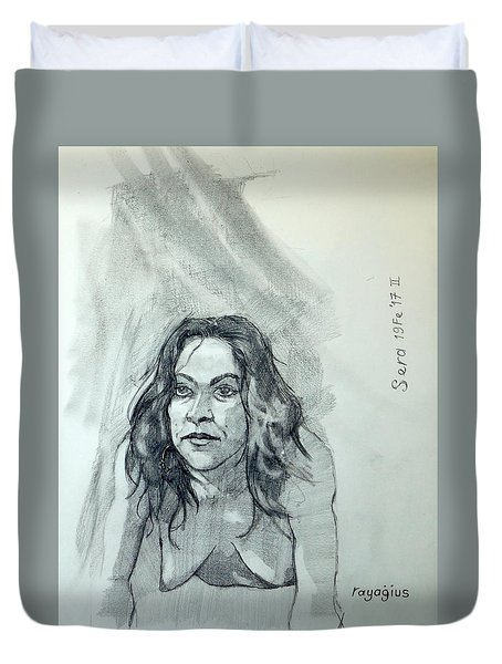 Sketch For Sera.10.01 Duvet Cover by Ray Agius