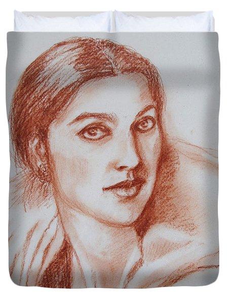 Sketch In Conte Crayon Duvet Cover