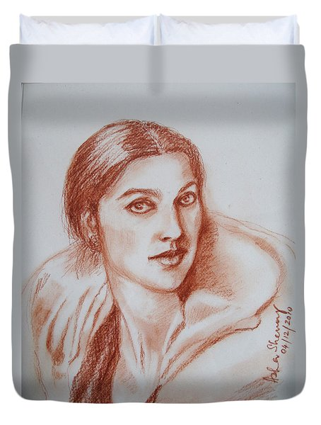 Sketch In Conte Crayon Duvet Cover