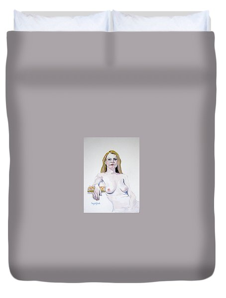Sketch Mary Leaning Duvet Cover