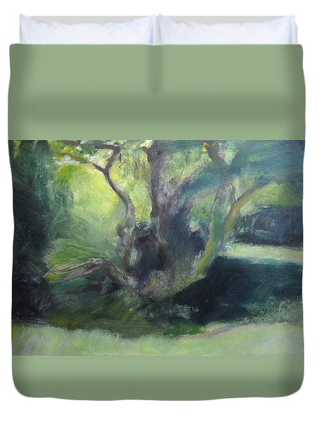 Duvet Cover featuring the painting Sketch Of A Shady Glade. by Harry Robertson