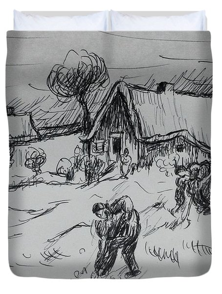 Sketch Of Diggers And Other Figures Duvet Cover