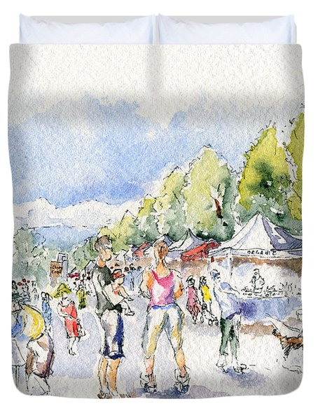 Sketch Of Farmer's Market Duvet Cover