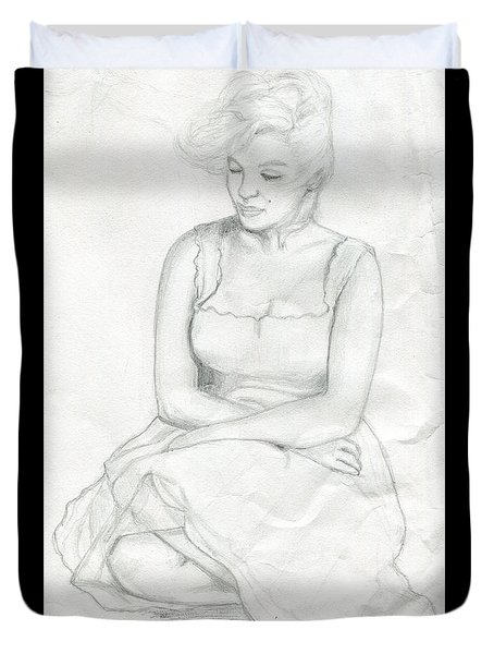 Duvet Cover featuring the drawing Sketch Of Marilyn Monroe by Roz Abellera Art