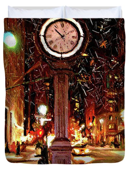 Sketch Of Midtown Clock In The Snow Duvet Cover by Randy Aveille