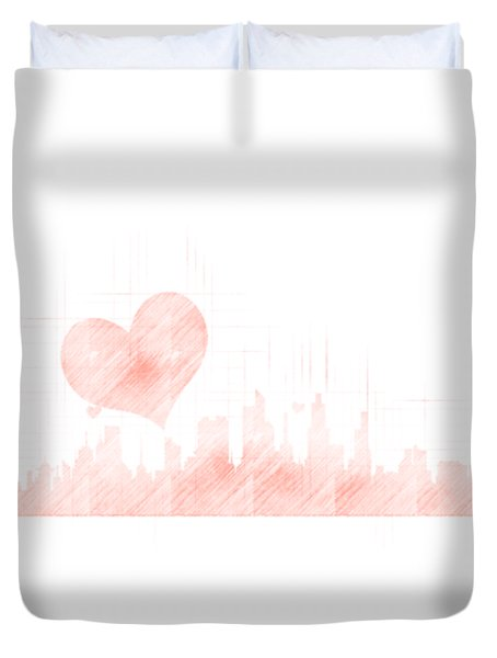 Sketch Of The City Skyline Duvet Cover