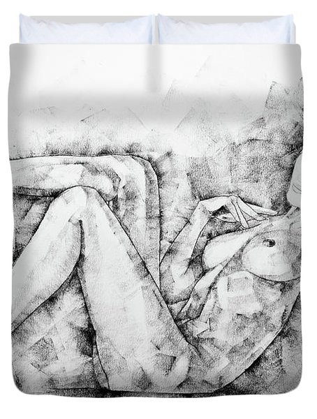 Sketchbook Page 46 Drawing Woman Classical Sitting Pose Duvet Cover