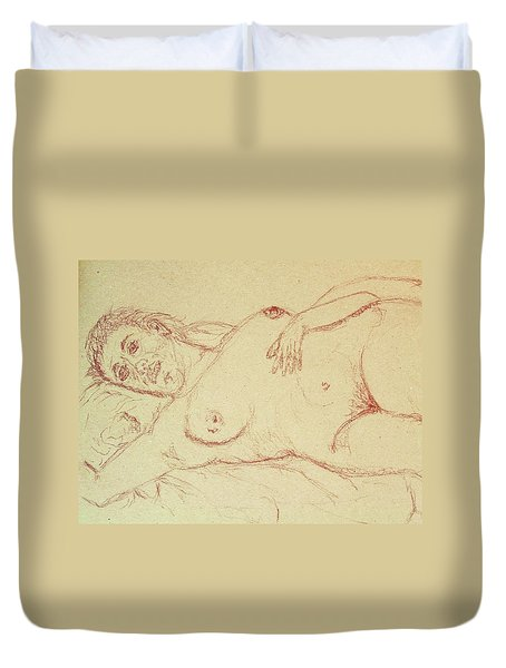Nude Laying In Red Duvet Cover by Rand Swift