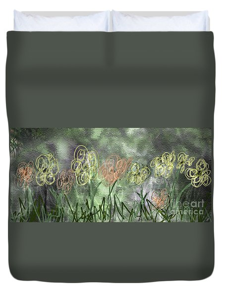 Duvet Cover featuring the digital art Sketchy Flowerrs by Gabrielle Schertz