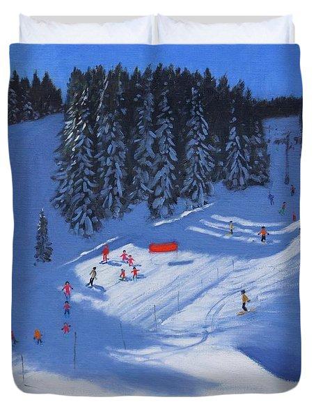 Ski School Morzine Duvet Cover