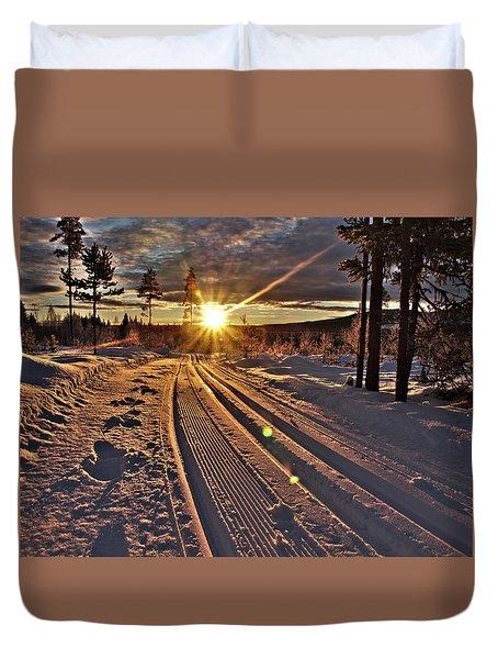 Ski Trails With Sun Beams Duvet Cover