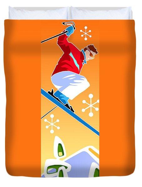 Skier Diptych Left Side Duvet Cover