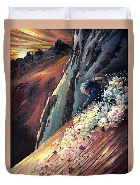 Skier On The Steeps Duvet Cover