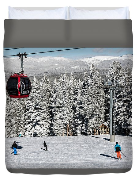 Skiers Limber Up Under A Gondola Near The Summit Of Aspen Mountain Duvet Cover by Carol M Highsmith