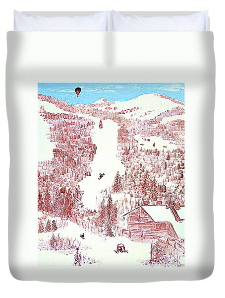 Skiing Deer Valley Utah Duvet Cover by Richard W Linford