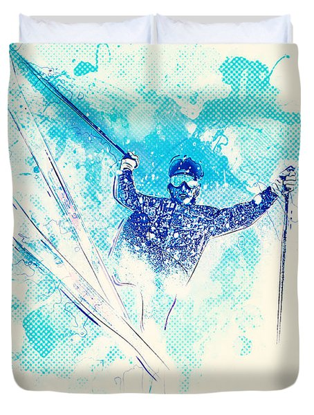 Skiing Down The Hill Duvet Cover