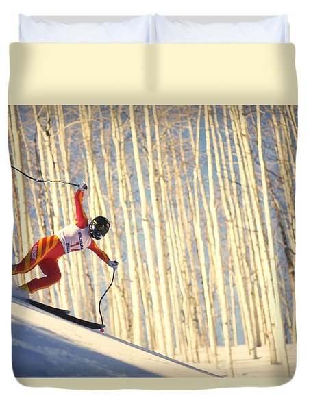 Skiing In Aspen, Colorado Duvet Cover