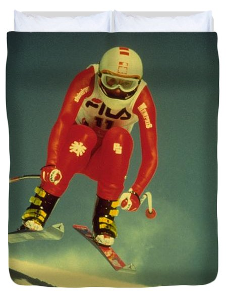 Skiing In Crans Montana Duvet Cover
