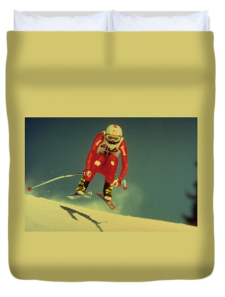 Duvet Cover featuring the photograph Skiing In Crans Montana by Travel Pics