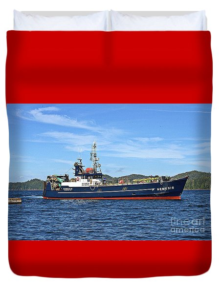 Skipper Kris At The Wheel Duvet Cover