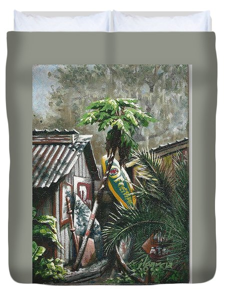 Skippers Smokehouse At Daylight Duvet Cover