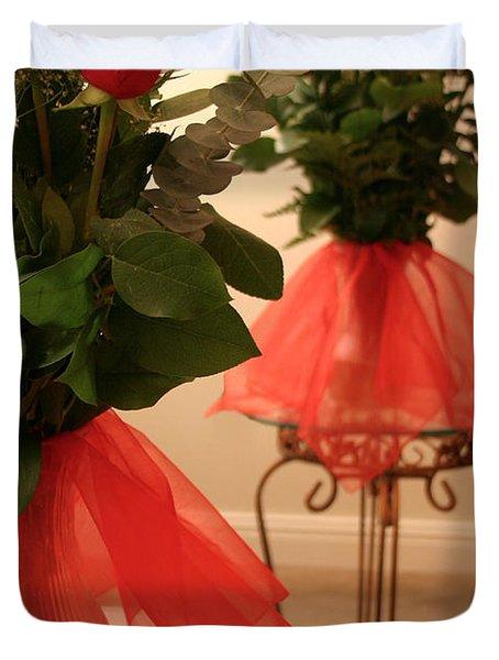 Skirted Roses In Mirror Duvet Cover by Kristin Elmquist