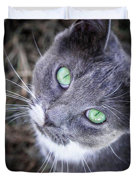 Skitty Green Eyes Duvet Cover