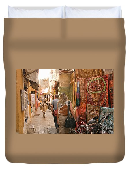 Skn 1226 The Squeezed Lane Duvet Cover by Sunil Kapadia