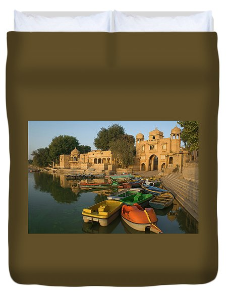Skn 1391 A Visit To Gadisar Lake Duvet Cover by Sunil Kapadia