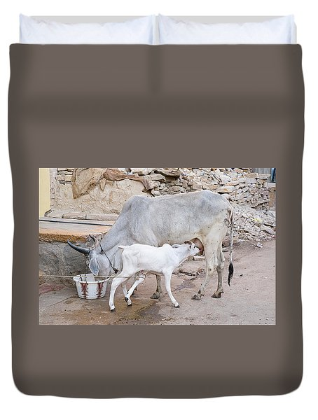 Skn 1654 Feeding Time Duvet Cover by Sunil Kapadia