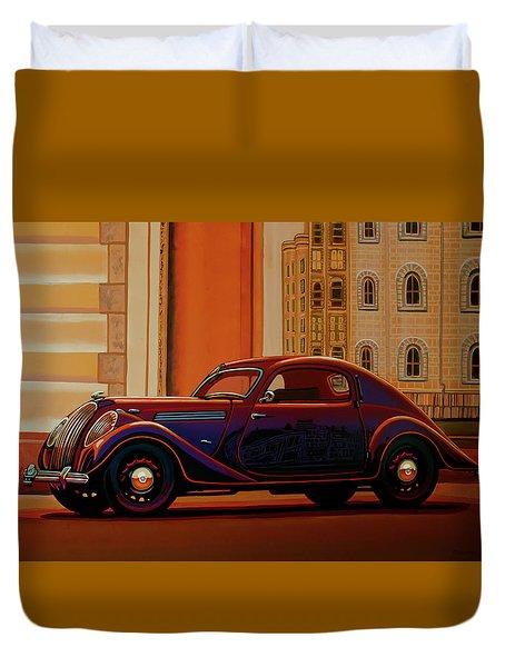 Skoda Popular Sport Monte Carlo 1935 Painting Duvet Cover