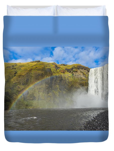 Duvet Cover featuring the photograph Skogafoss Rainbow by James Billings