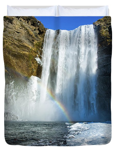 Skogafoss Waterfall Iceland In Winter Duvet Cover by Matthias Hauser