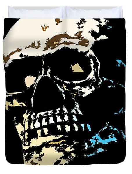 Skull Against A Dark Background Duvet Cover