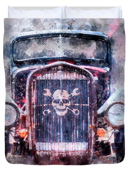 Skull And Cross Wrench Watercolor Duvet Cover