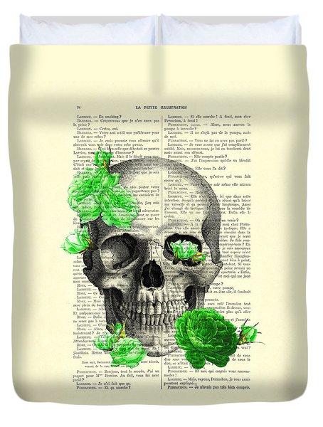 Skull And Green Roses Illustration Duvet Cover