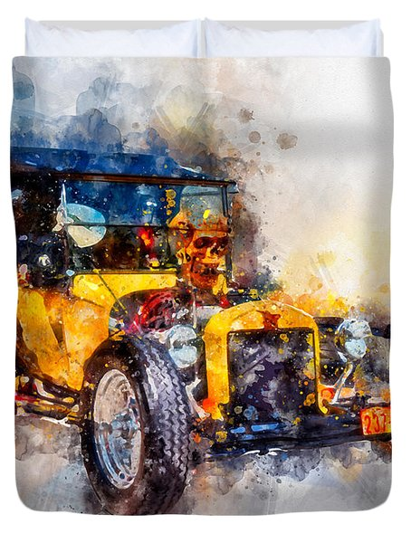 Skull Bucket Watercolor Duvet Cover