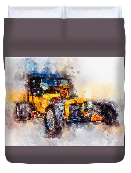 Skull Bucket Watercolor Duvet Cover