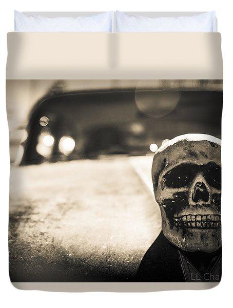 Skull Car Duvet Cover by Lora Lee Chapman