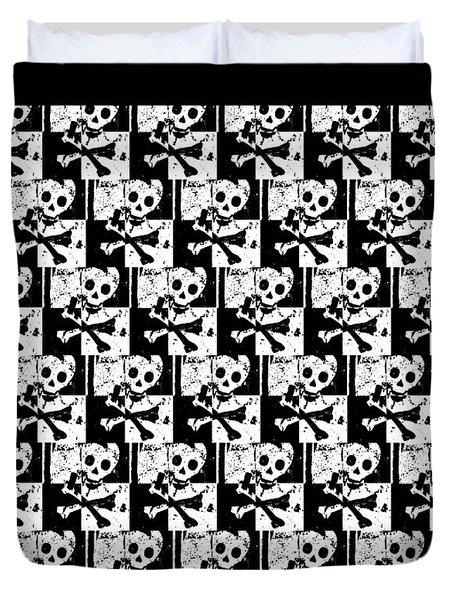 Skull Checker Duvet Cover by Roseanne Jones