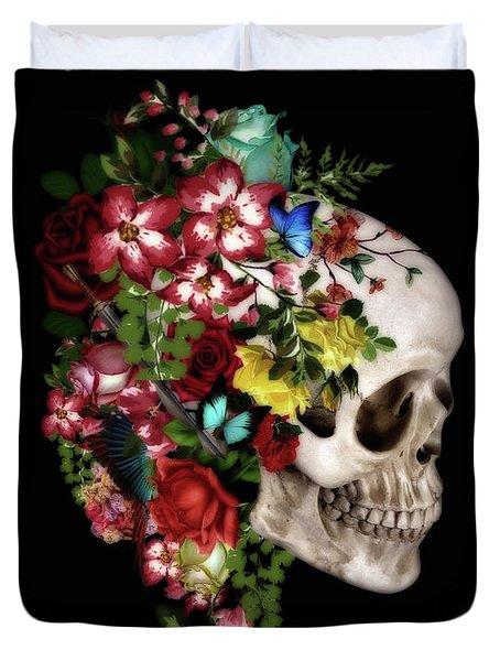 Skull Floral Duvet Cover