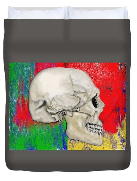Skull In Primary Without Shape Duvet Cover