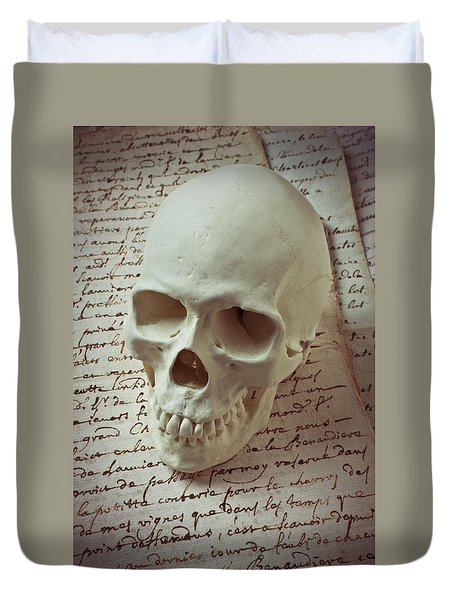 Skull On Old Letters Duvet Cover by Garry Gay
