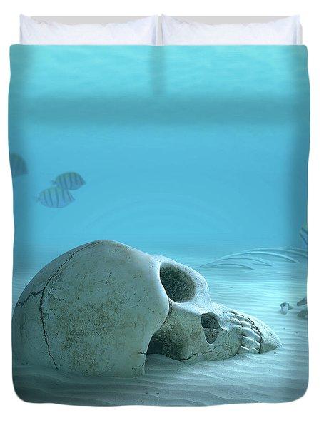 Skull On Sandy Ocean Bottom Duvet Cover