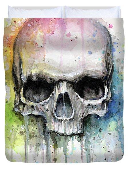 Skull Watercolor Rainbow Duvet Cover