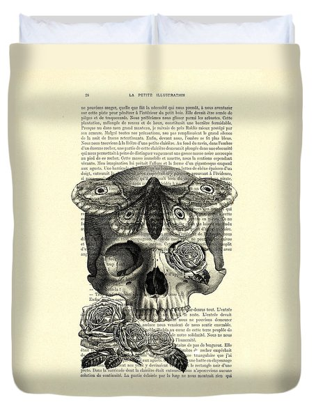 Skull With Hawkmoth Black And White Duvet Cover